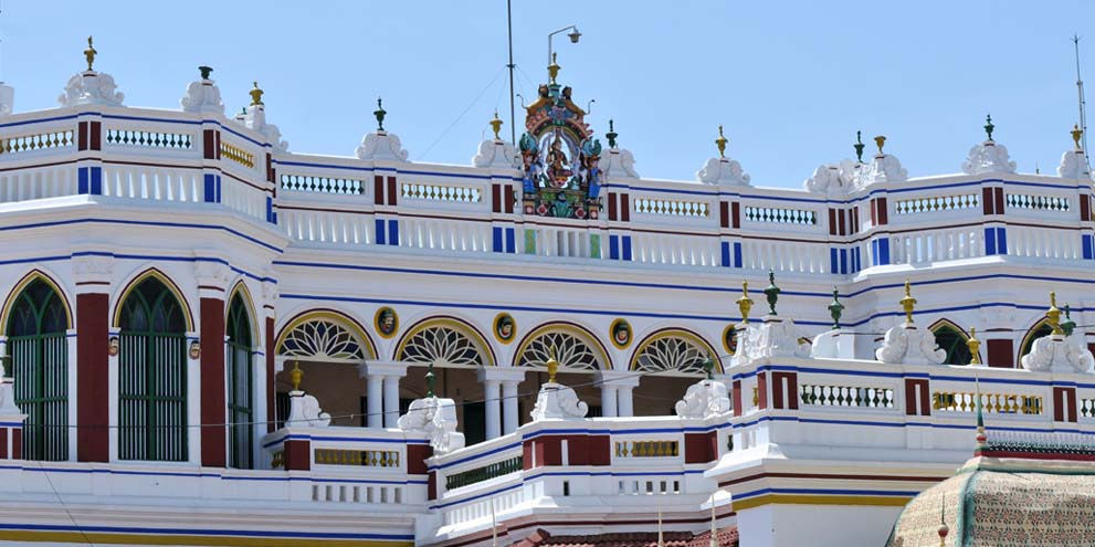 <strong>Chettinad</strong> - The exterior of a Chettinad mansion.