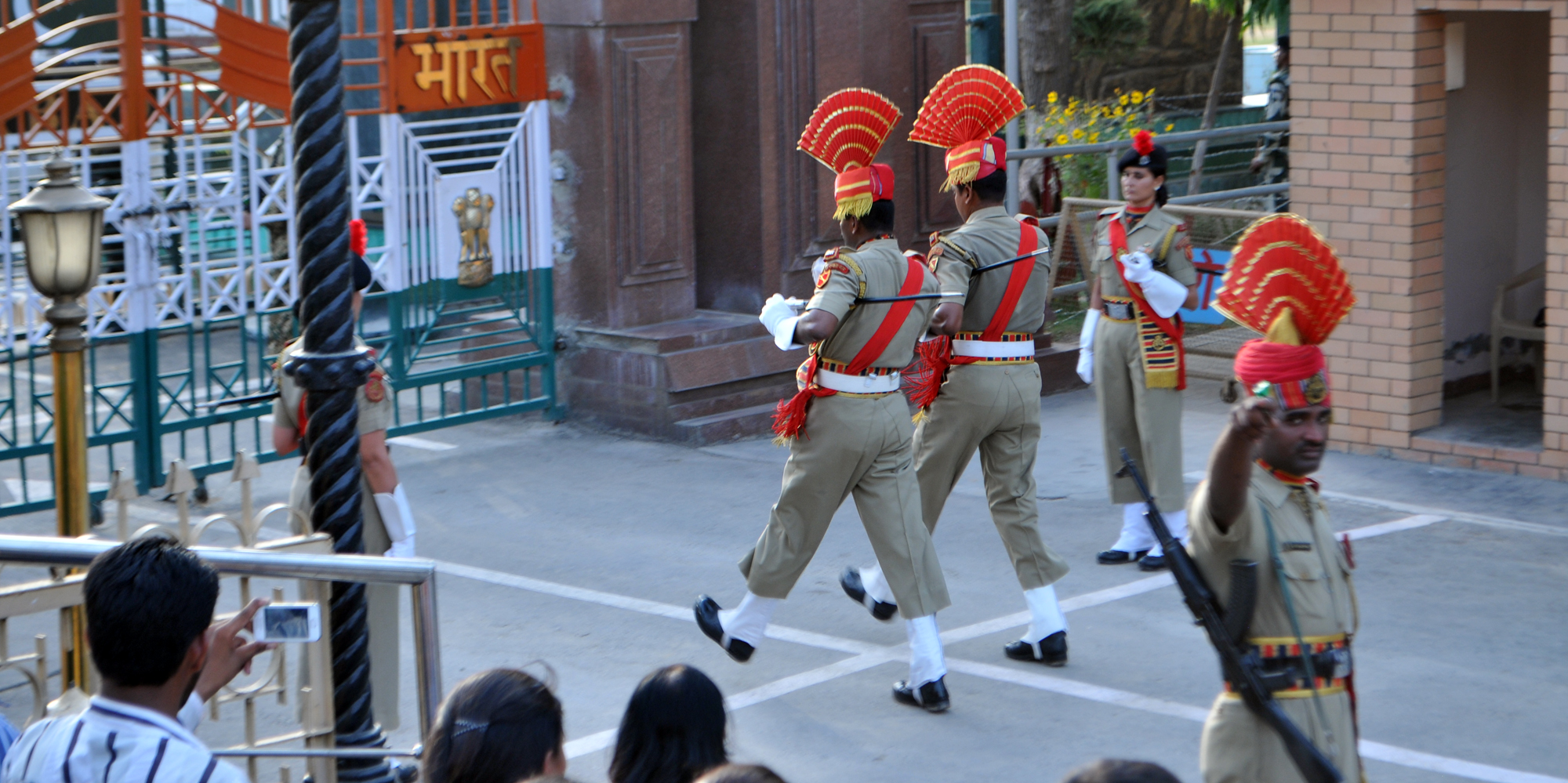 <strong>Guards March Towards The Wagah Border Between India and Pakistan, Amristar</strong> - Wagah Border