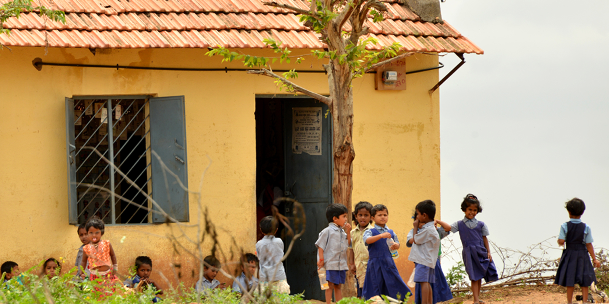 <strong>Children outside a rural elementary school</strong> -