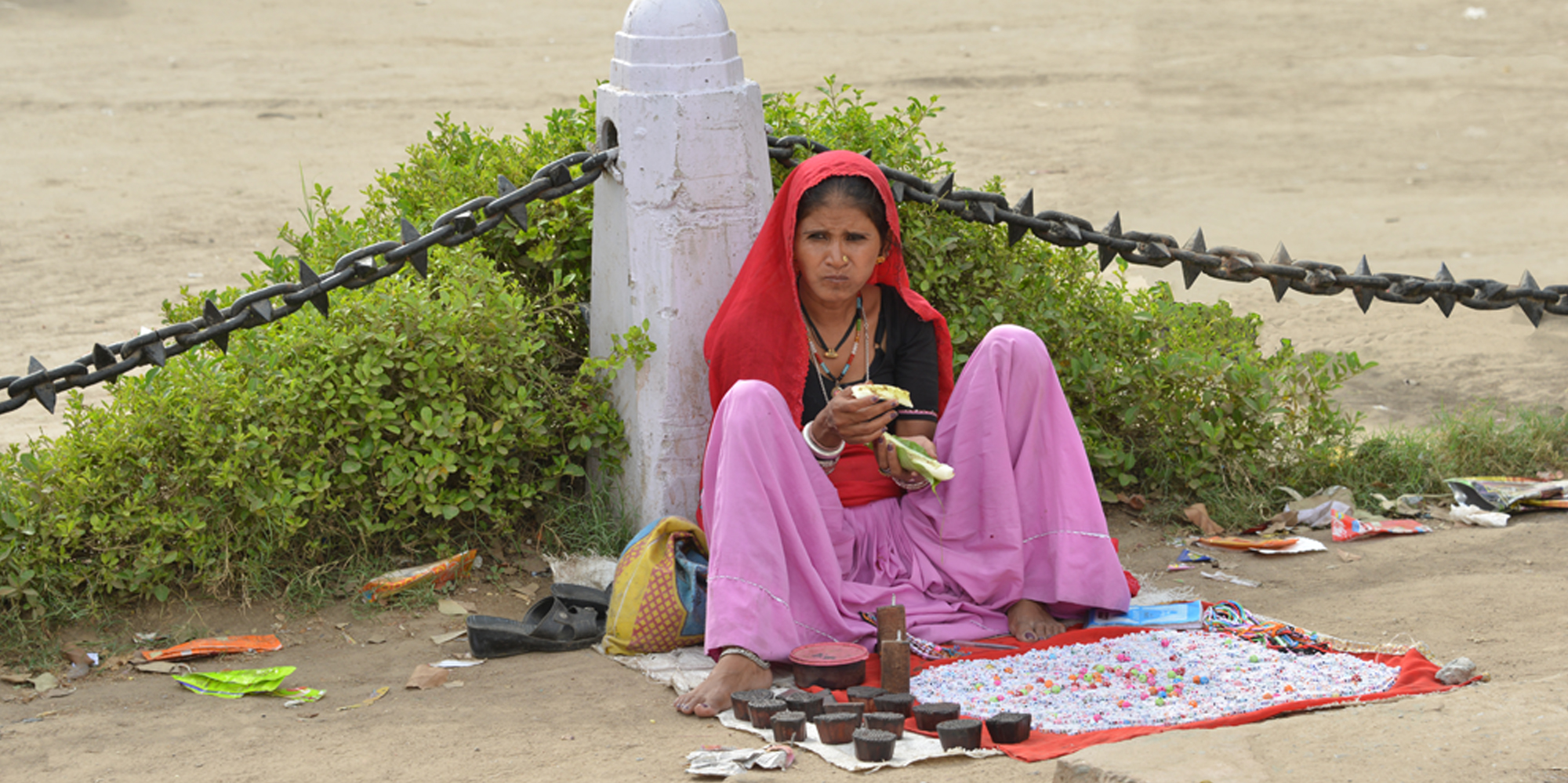 <strong>A street vendor proffers her wares near India Gate, Delhi</strong> -