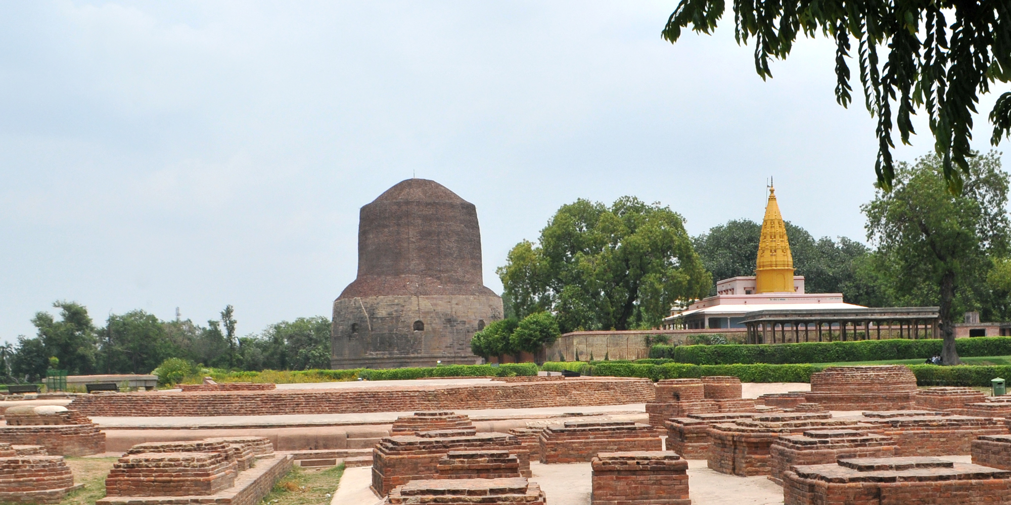 <strong>Sarnath - 1</strong> - Dhamek Stupa is a massive stupa located at Sarnath, 13 km away from Varanasi in the state of Uttar Pradesh, India.