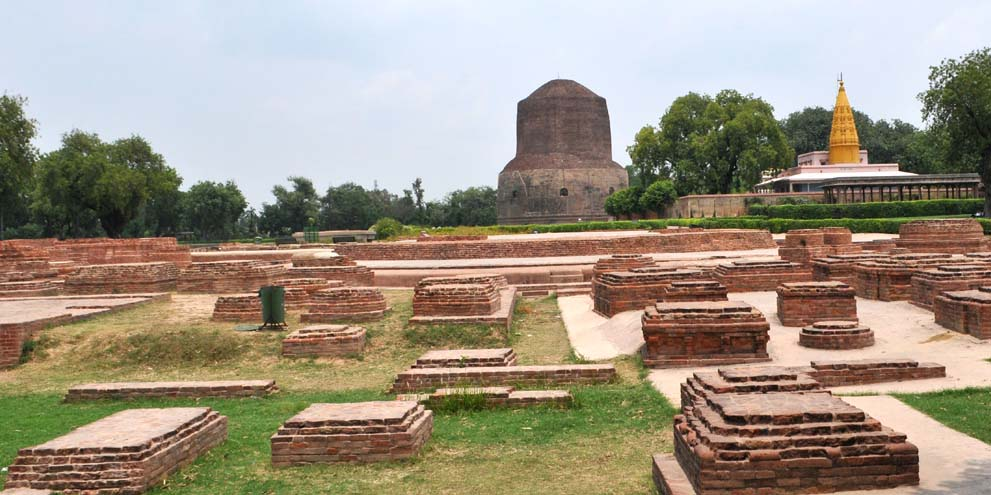 <strong>Sarnath</strong> - Dhamek Stupa is a massive stupa located at Sarnath, 13 km away from Varanasi in the state of Uttar Pradesh, India.
