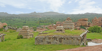 Ridge Line Beyond The Ruins, Hampi - Aerial view of Hemakuta Group of Temples