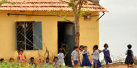 Children outside a rural elementary school -
