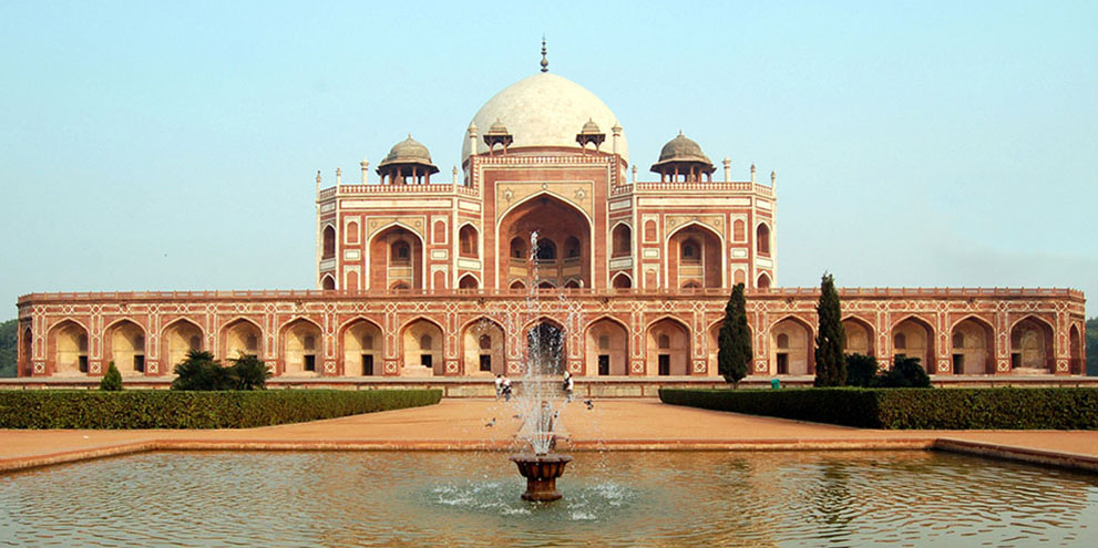 <strong>Humayun's Tomb - The square red sandstone double-storeyed structure.</strong> - Delhi