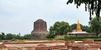 Sarnath - 1 - Dhamek Stupa is a massive stupa located at Sarnath, 13 km away from Varanasi in the state of Uttar Pradesh, India.