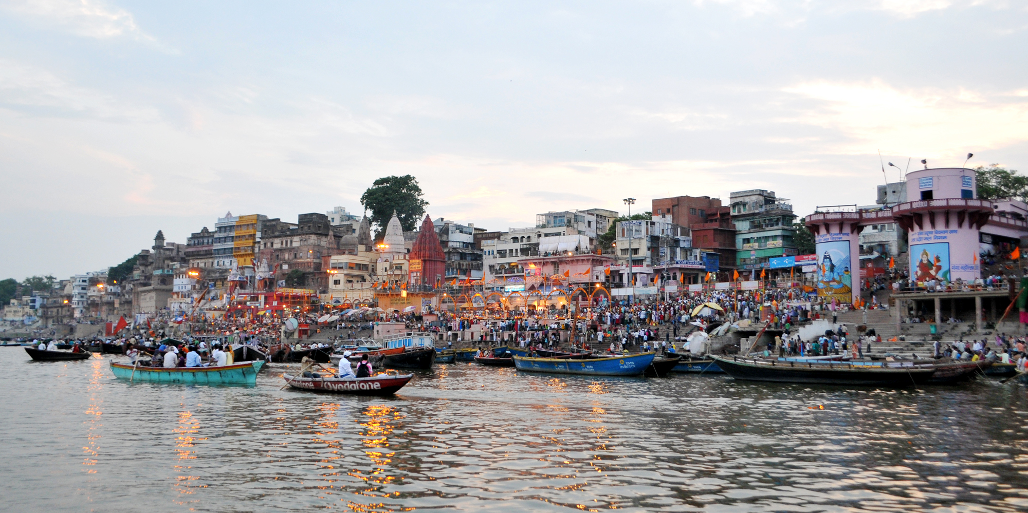 <strong>Ghat of Varanasi, Varanasi</strong> - The crowd grows during sunset at one of the more than 80 ghats on the river Ganges here. The Dashashwamedh Ghat is the main and probably oldest ghat located on the Ganges here.