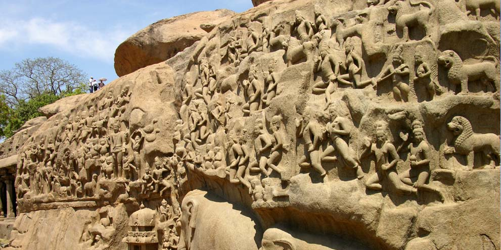 <strong>Mahabalipuram</strong> - Panoramic view of sculptures