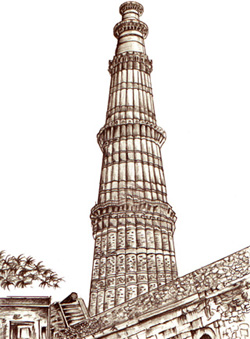 North India Tour with Holi Festival - Group Tour Qutub Minar Sketch For Kids